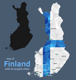 map of finland and its largest cities vector image