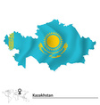 Map of Kazakhstan with flag vector image
