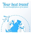 Paper plane flies around the world vector image