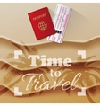 Passport and boarding pass beach as background vector image