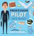 pilot profession vacancy at airport poster vector image vector image