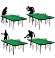 ping pong players with green table vector image vector image
