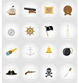 pirate flat icons 17 vector image