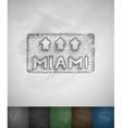 pointer to Miami icon Hand drawn vector image vector image