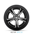 realistic aluminum car wheel with tire vector image vector image