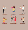 set characters with a cake vector image