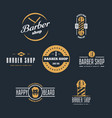 Set of vintage barber shop logo labels badges
