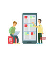 shopping men people online orders from internet vector image vector image
