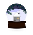 snow ball with a winter landscape with a house in vector image vector image