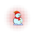 Snowman icon comics style vector image vector image