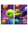 space explosion cartoon planets and meteorites vector image