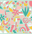 spring or summer flowers and geometric shapes vector image vector image