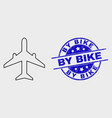 stroke airplane icon and distress by bike vector image vector image