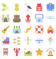 summer vacation related icon set 5 flat style vector image vector image