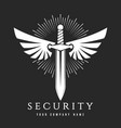 sword with wings security company emblem vector image