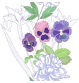 White seamless pattern with peonies and pansy vector image