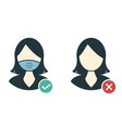 woman without a medical mask is forbidden a vector image vector image
