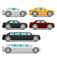 Cartoon cars with big wheels set sedan and limousi vector image