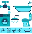 Plumbing equipment icons in flat design style vector image