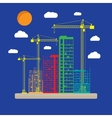 Construction site with buildings and cranes icon vector image