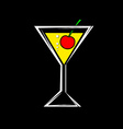a glass with a cocktail and cherry isolated on a vector image vector image