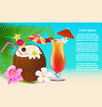 a summer party composition with cocktail and vector image