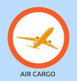 air cargo flies across sky delivery goods vector image