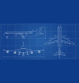 airplane blueprint outline aircraft on blue