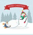 beautiful flat design christmas card funny snowman vector image vector image
