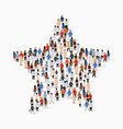 big group people standing in a star sign vector image vector image