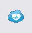 Blue cloud heart pulse icon vector image vector image