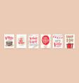 bundle of birthday greeting card postcard or vector image vector image