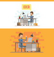 businessman character with computer vector image vector image