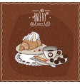 croissant with whipped cream with cup of tea vector image vector image