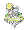 doodle couple rabbit animal in the float island vector image vector image