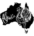 Emu Dromaius novaehollandiae on map of Australia vector image