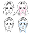 Facial massaging lines for man and woman vector | Price: 1 Credit (USD $1)