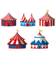 five circus tents on white background vector image vector image