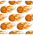 Flaming basketballs seamless pattern vector image vector image