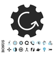 Gear Rotation Flat Icon With Bonus vector image