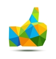 Geometric thumb up icon using Brazil flag colors vector image