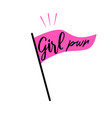 girl power pink flag feminism concept symbol vector image vector image