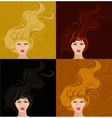 girls with long hair vector image
