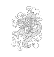 Gold fish coloring book for adults vector image