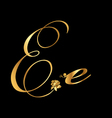 Gold letter E with roses vector image