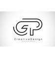 gp g p letter logo design in black colors vector image vector image