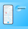 gps navigation app on mobile phone city map vector image