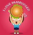 happy woman carrying big hamburger vector image vector image