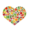 heart made of fruits and vegetables vector image vector image