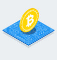 isometric bitcoin sign with computer chip color vector image vector image